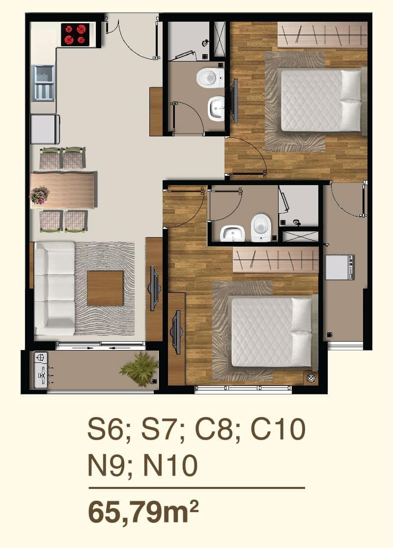 Thiết kế căn hộ 2 Phòng ngủ mã căn S6, S7, C8, C10, N9, N10