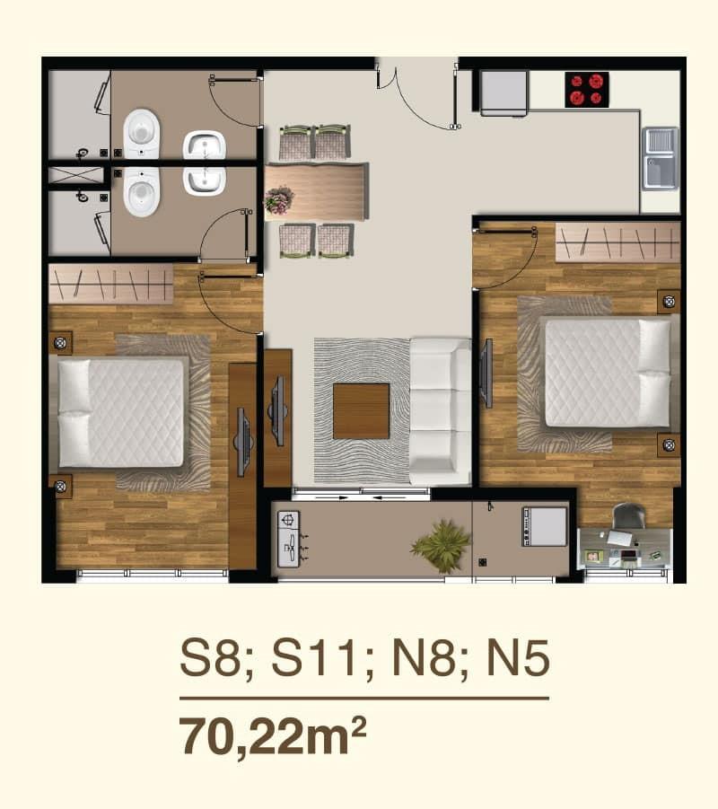 Thiết kế căn hộ 2 Phòng ngủ mã căn S8, S11, N9, N5