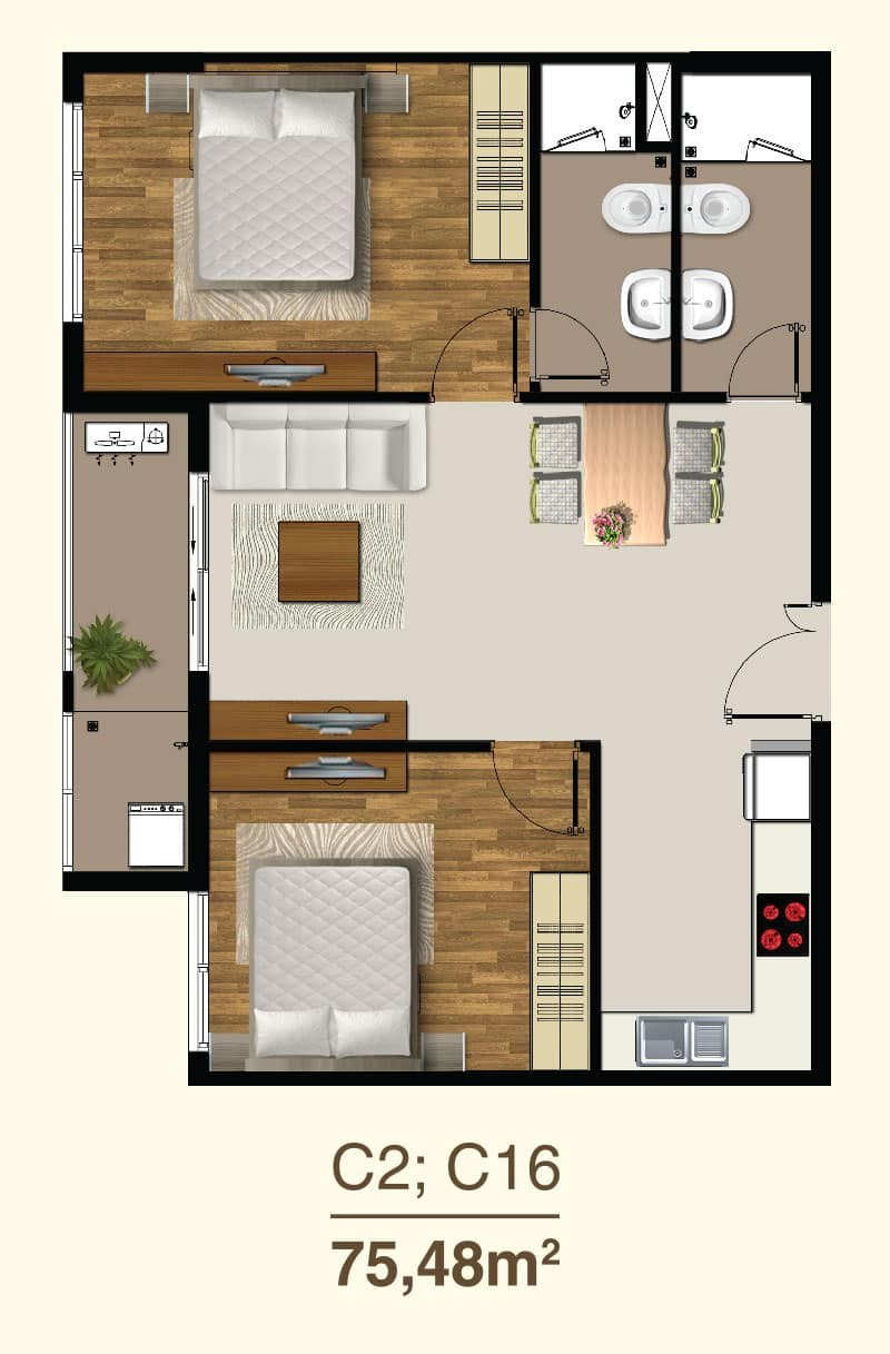 Thiết kế căn hộ 2 Phòng ngủ mã căn C2, C16