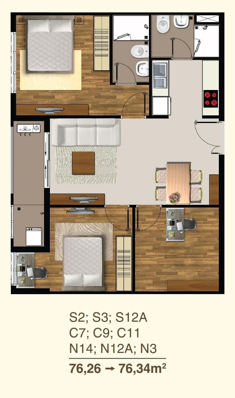 Thiết kế căn hộ 2 Phòng ngủ mã căn S2, S3, S12A, C7, C9, C11, N14, N12A, N3