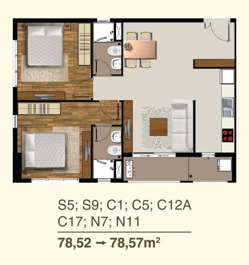 Thiết kế căn hộ 2 Phòng ngủ mã căn S5, S9, C1, C5, C12A, C17, N7, N11
