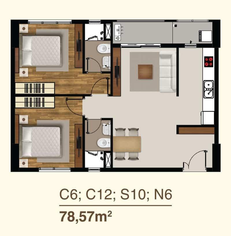 Thiết kế căn hộ 2 Phòng ngủ mã căn C6, C12, S10, N6