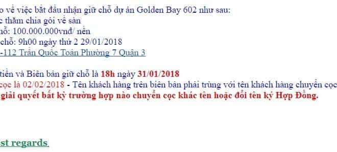 Chính sách bán hàng dự án đất nền Golden Bay 602