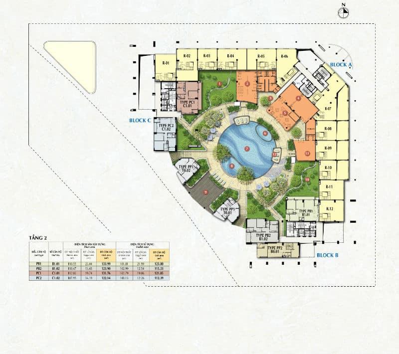 Mặt bằng căn hộ Riverpark Premier