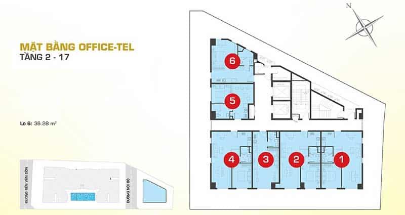 Mặt bằng Officetel Tresor