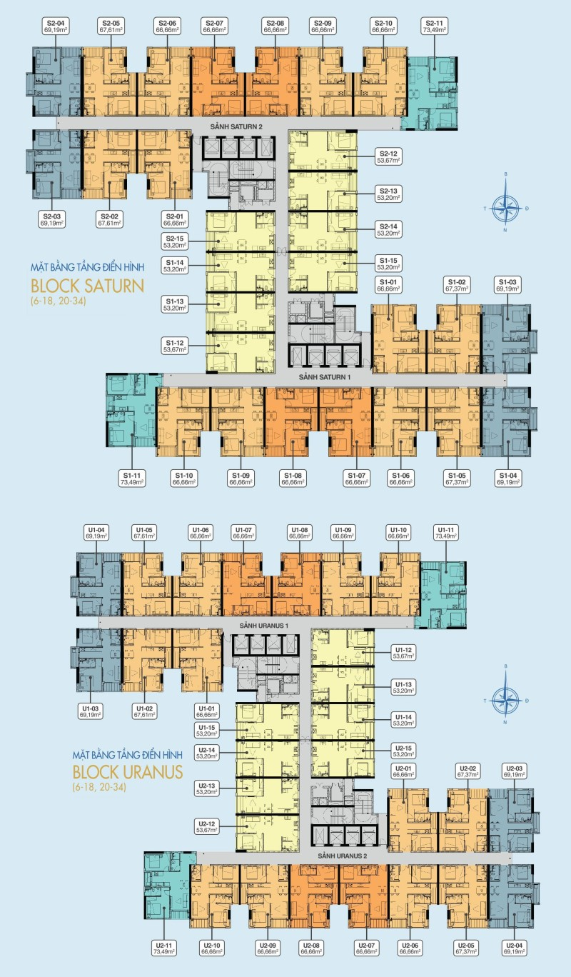 Mặt bằng căn hộ điển hình Block Uranus và Block Saturn