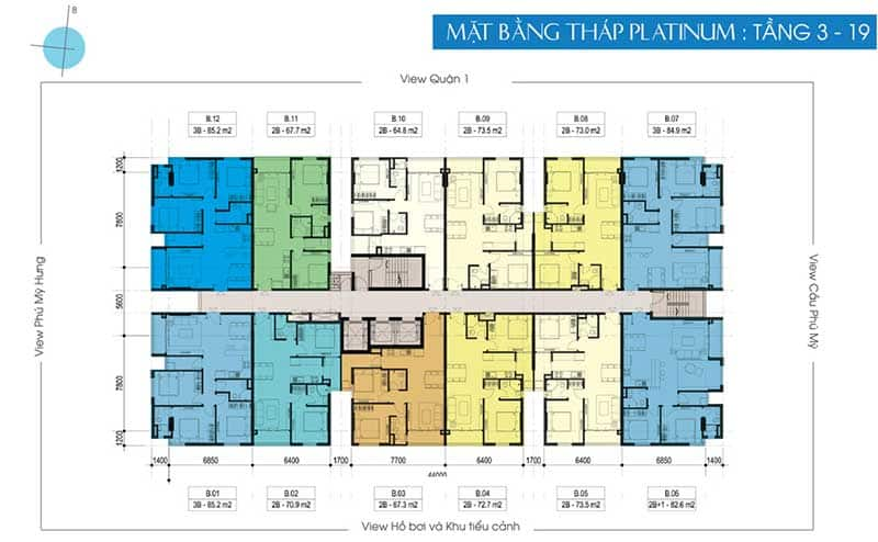 Mặt bằng căn hộ Opal Premium