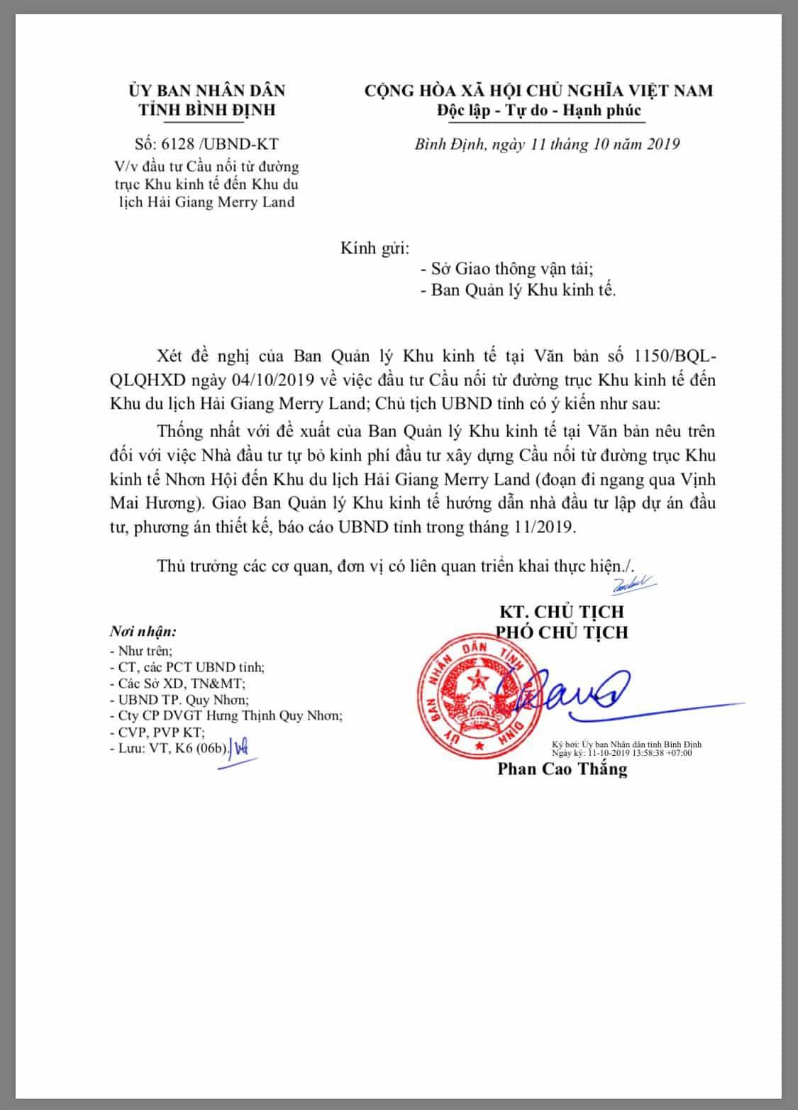 Văn bản chấp thuận xây cầu nối đường trục khu kinh tế Nhơn Hội đến khu du lịch Hải Giang Merry Land của UBND tỉnh Bình Định