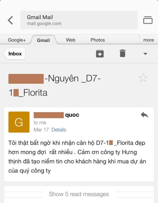 Những lời khiach1 lệ của khách hàng khi nhận căn hộ Florita