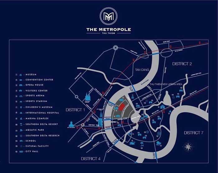 Vị trí dự án The Metropole Thủ Thiêm