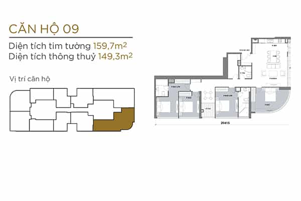 mặt bằng căn hộ 4 phòng ngủ tòa Aqua 2 Vinhomes Golden River quận 1
