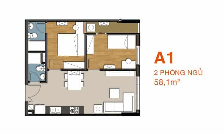 Mặt bằng 9 View căn A1