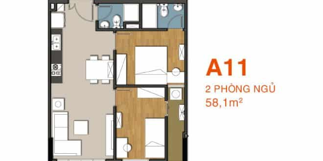 Sơ đồ thiết kế căn hộ A11 Căn hộ 9 View