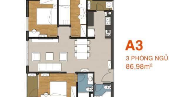 Sơ đồ thiết kế căn hộ A3 Căn hộ 9 View
