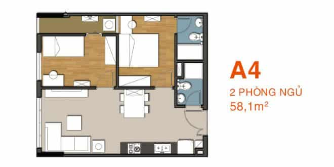 Sơ đồ thiết kế căn hộ A4 Căn hộ 9 View