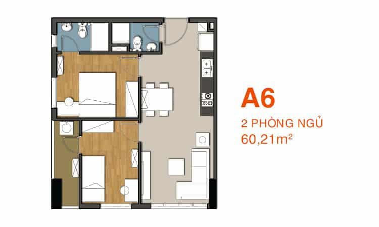Sơ đồ thiết kế căn hộ A6 Căn hộ 9 View
