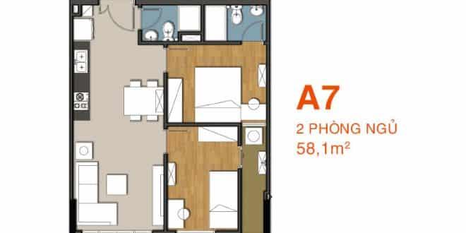 Sơ đồ thiết kế căn hộ A7 Căn hộ 9 View
