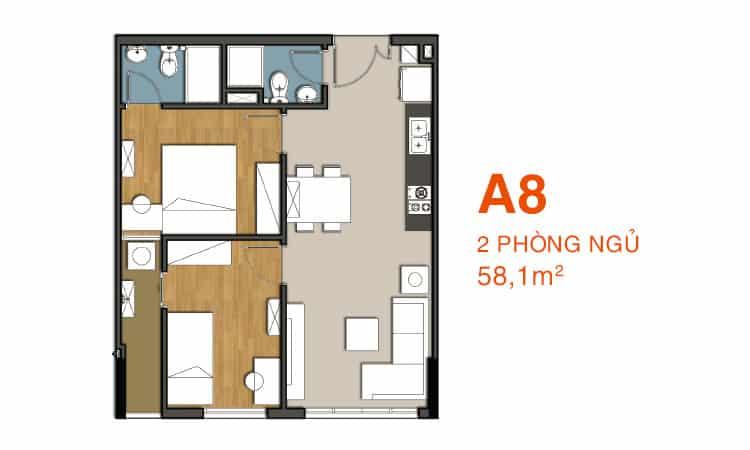 Sơ đồ thiết kế căn hộ A8 Căn hộ 9 View