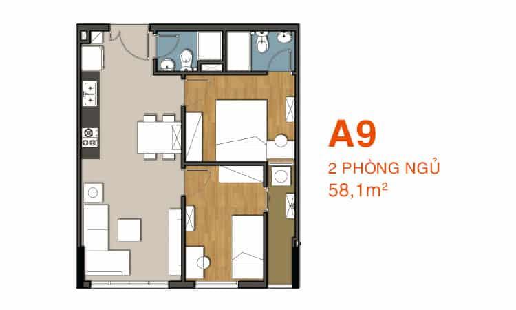 Sơ đồ thiết kế căn hộ A9 Căn hộ 9 View