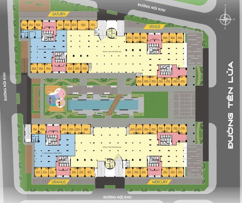 Mặt bằng tầng trệt - Shophouse Universe Complex
