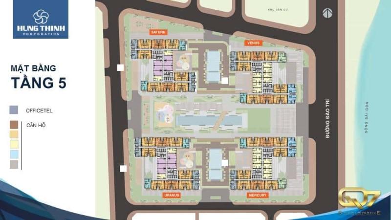 Mặt bằng Officetel dự án Saigon Riverside Complex