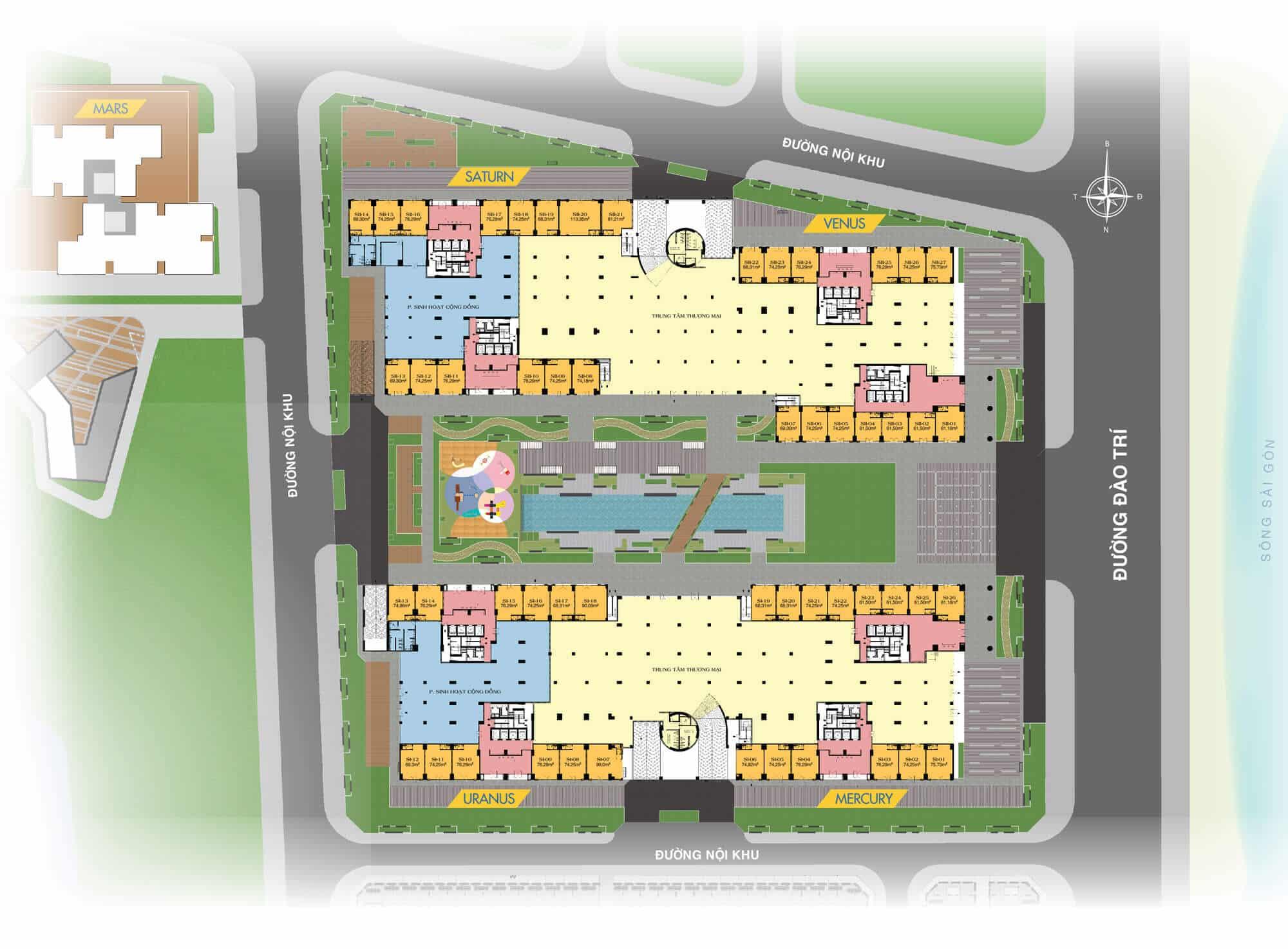 Mặt bằng Shophouse Q7 Saigon Riverside Complex