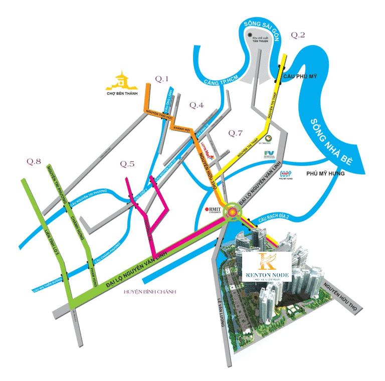 Bản đồ thể hiện vị trí căn hộ TNR Kenton Node Quận 7