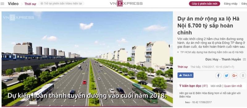 Dự án mở rộng Xa Lộ Hà Nội hoàn chỉnh vào cuối năm 2018