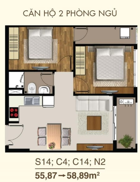 Bản vẽ thiết kế căn hộ Saigon Mia 2 phòng ngủ, 1WC