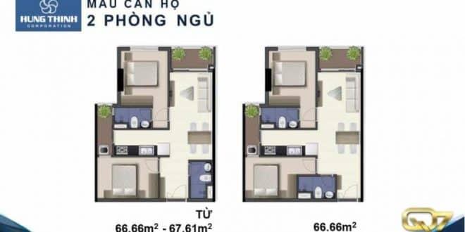 Mẫu căn hộ Q7 Riverside 2 phòng ngủ
