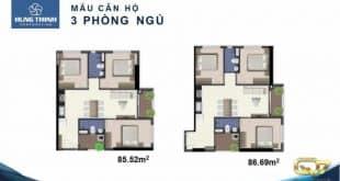 Mẫu căn hộ Q7 Riverside 3 phòng ngủ