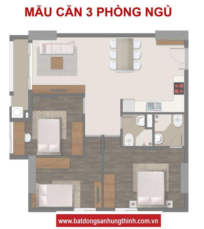 Bản vẽ thiết kế Richmond City 3 phòng ngủ