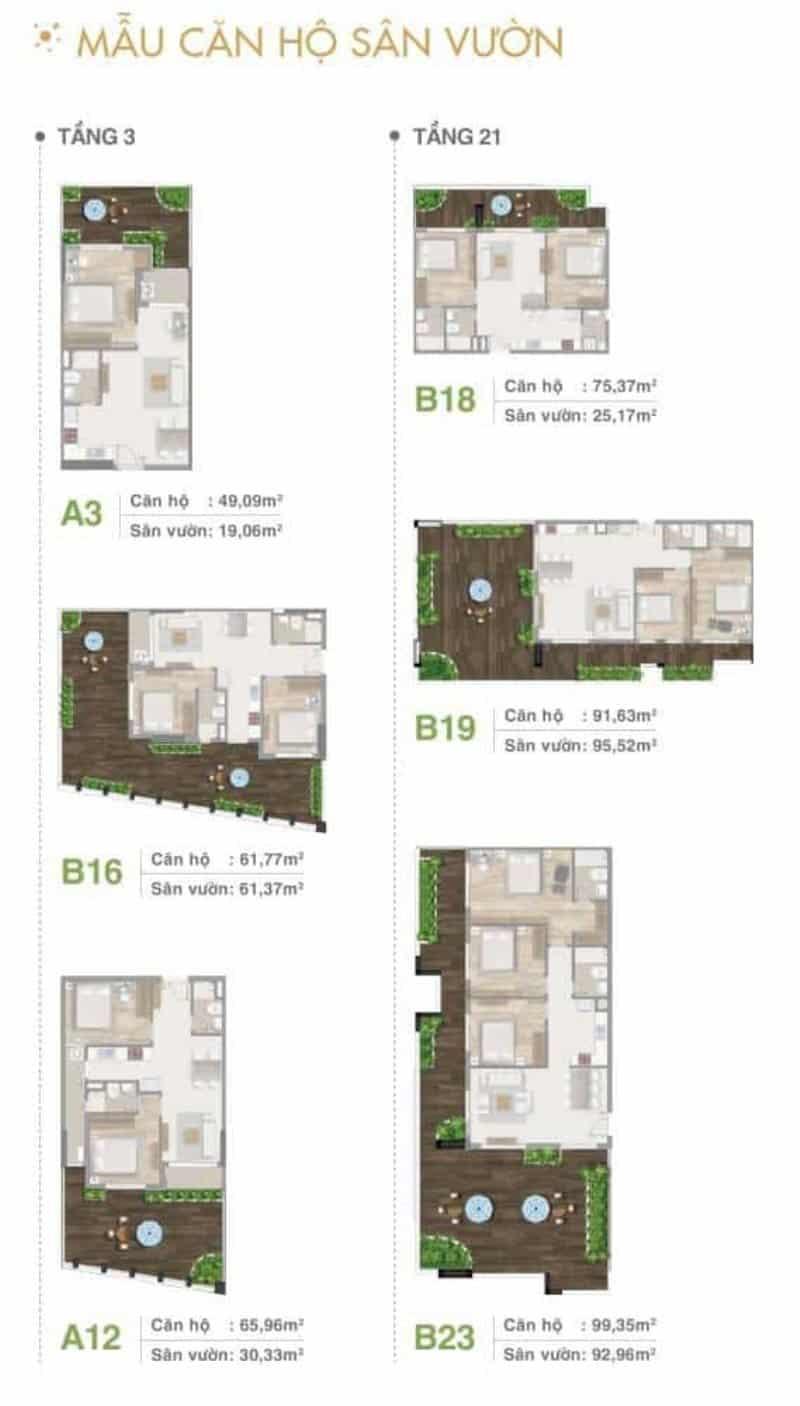 Mặt bằng căn hộ sân vườn tầng 3 và 21