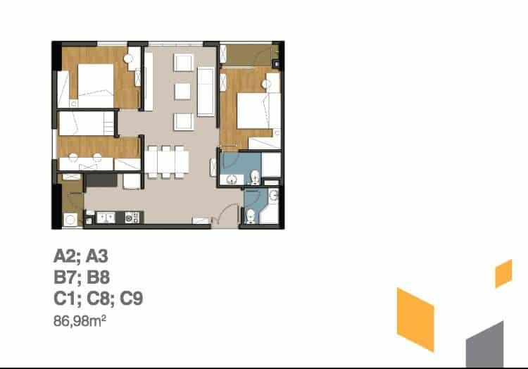 Thiết kế căn hộ 9View 3 phòng ngủ