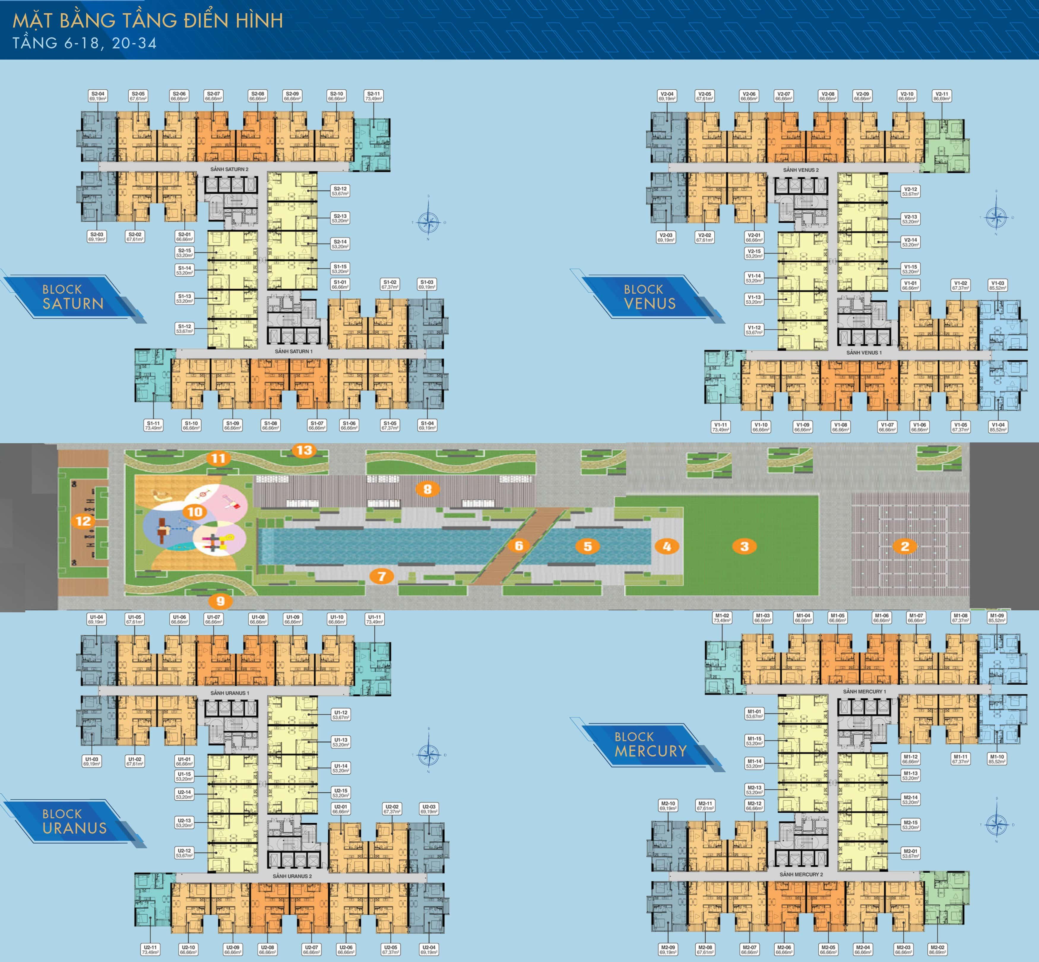 Mặt bằng tầng điển hình dự án Q7 Saigon Riverside Complex Full