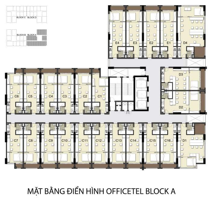 Mặt bằng tổng thể Officetel dự án Sky Center Phổ Quang quận Tân Bình