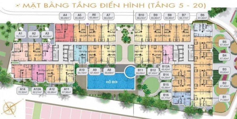 Mặt bằng căn hộ điển hình tầng 5-20