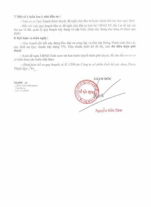 Pháp lý dự án Villas Hưng Thịnh Đà Lạt