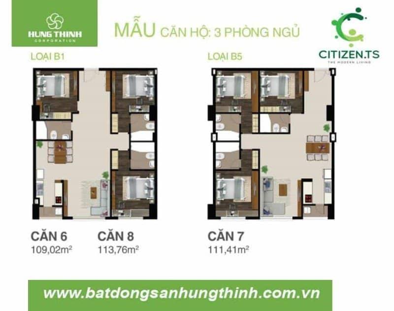 Mặt bằng căn hộ CitizenTS 3 phòng ngủ