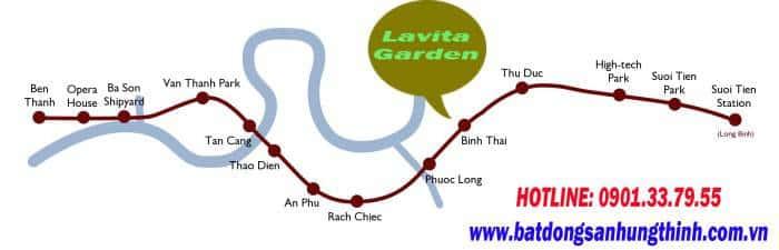 Lộ trình tuyến Metro đi ngan Lavita Garden