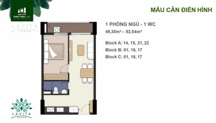 Thiết kế căn hộ Charm 1 phòng ngủ