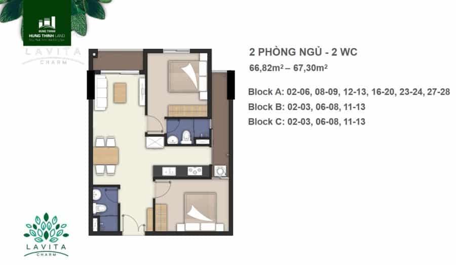 Thiết kế căn hộ Charm 2 phòng ngủ