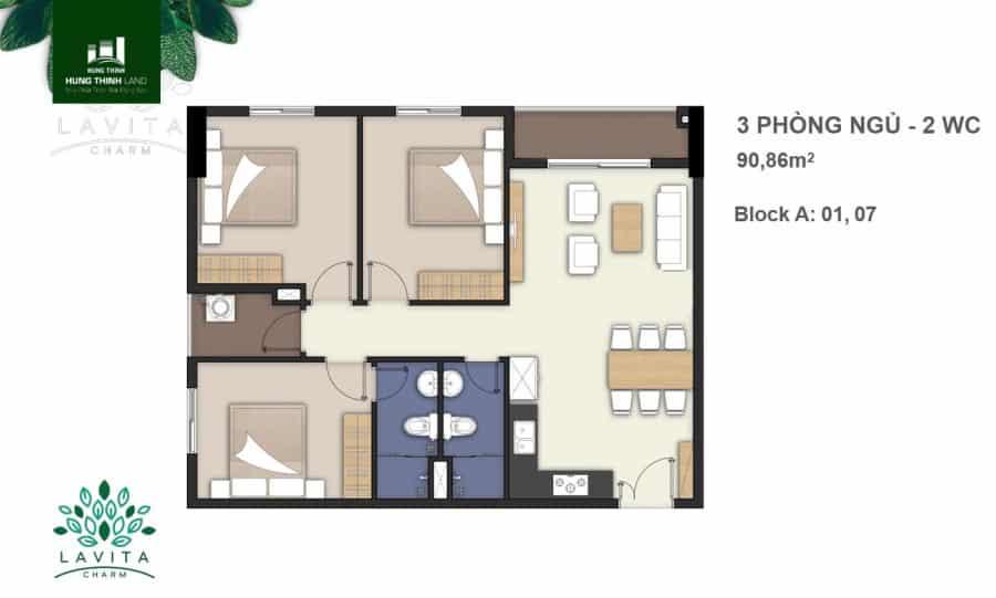 Thiết kế căn hộ Charm 3 phòng ngủ