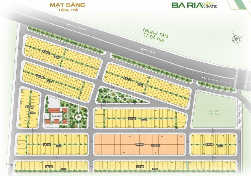 Mặt bằng tổng thể dự án Baria City Gate