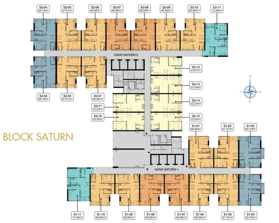 Mặt bằng tầng 19 block Saturn