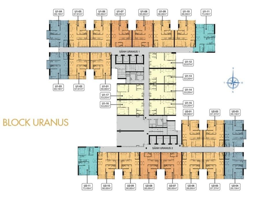 Mặt bằng tầng 19 block Uranus