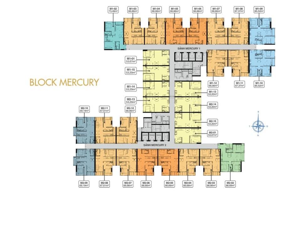 Mặt bằng tầng 5 block Mercury