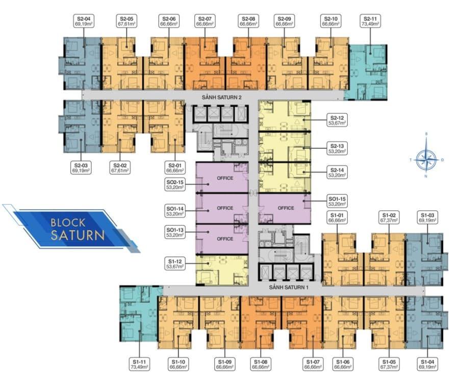 Mặt bằng tầng 5 block Saturn