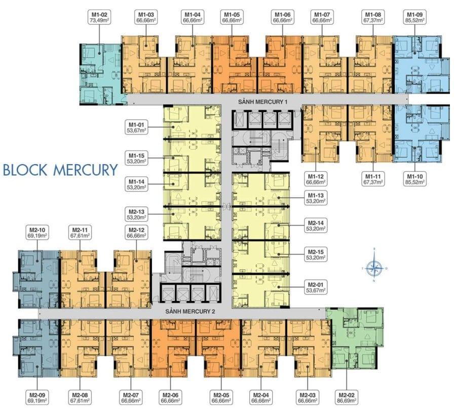 Mặt bằng Block Mercury Q7 Riverside tầng điển hình