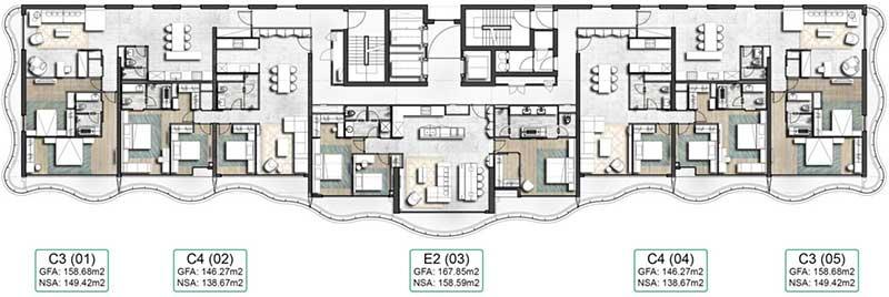 Mặt bằng căn hộ Waterina Suite